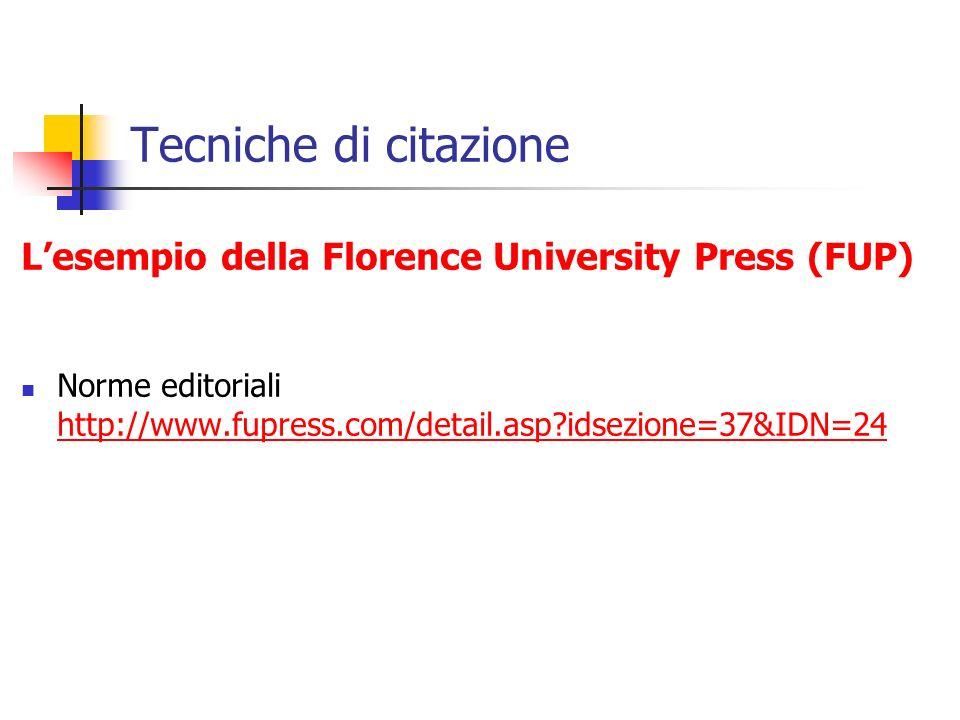 Tecniche di citazione Lesempio della Florence University Press (FUP) Norme editoriali http://www.fupress.com/detail.asp?idsezione=37&IDN=24 http://www