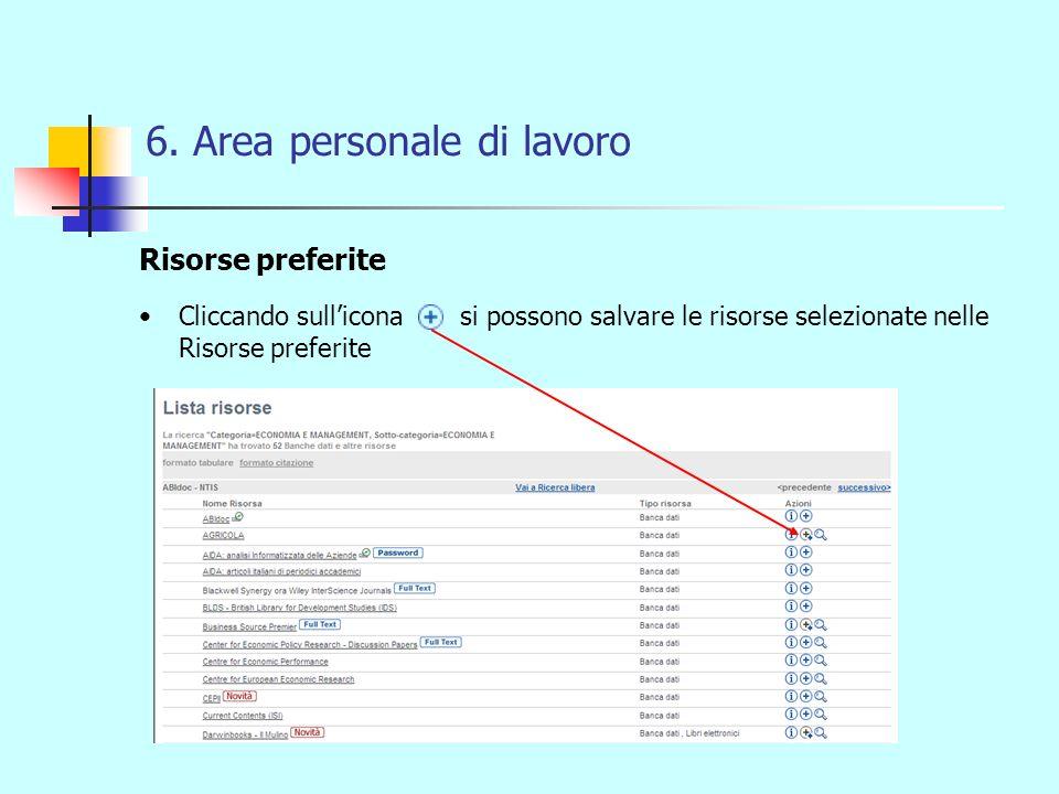 6. Area personale di lavoro Risorse preferite Cliccando sullicona si possono salvare le risorse selezionate nelle Risorse preferite