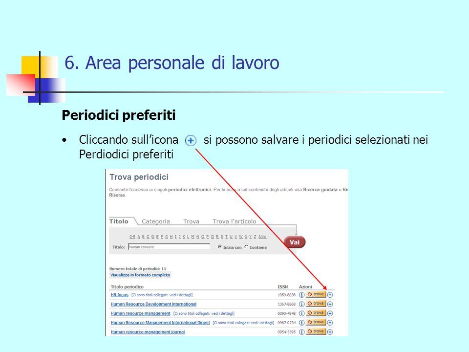 6. Area personale di lavoro Periodici preferiti Cliccando sullicona si possono salvare i periodici selezionati nei Perdiodici preferiti