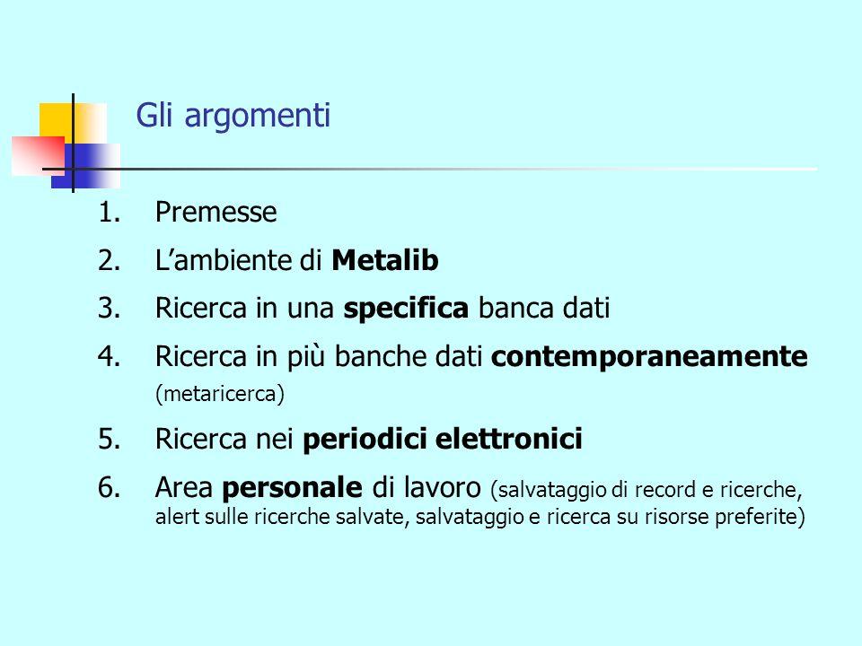 Gli argomenti 1.Premesse 2.Lambiente di Metalib 3.Ricerca in una specifica banca dati 4.Ricerca in più banche dati contemporaneamente (metaricerca) 5.