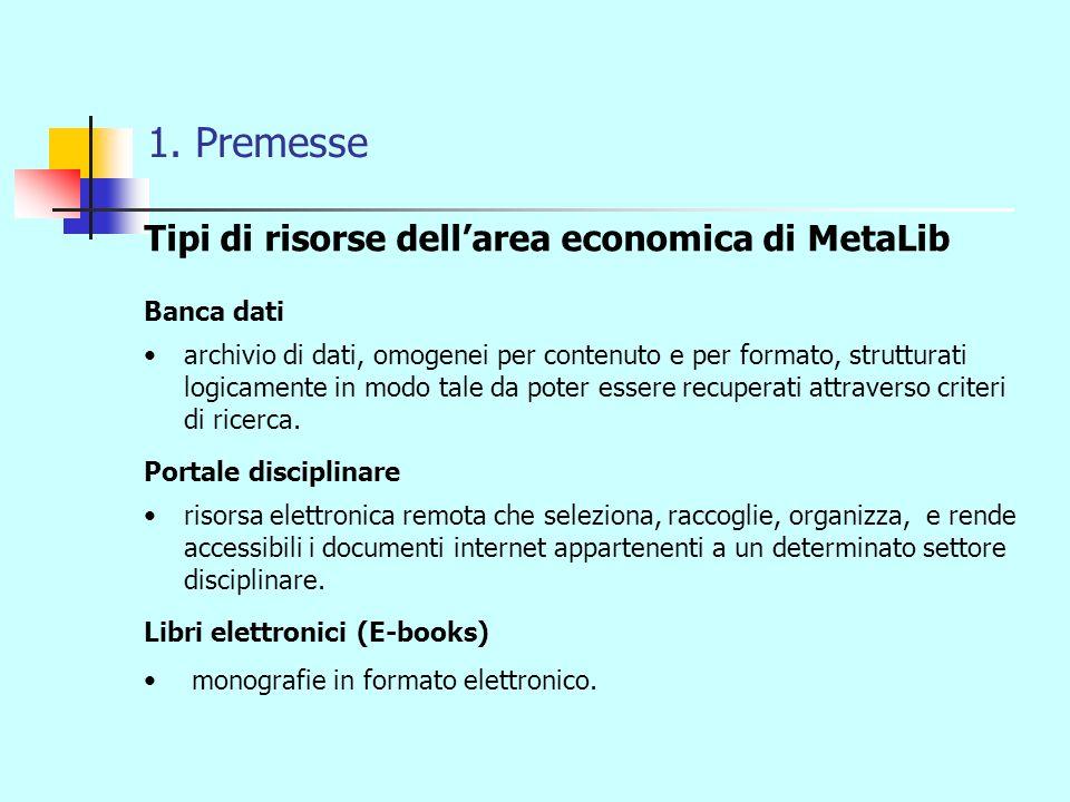 1. Premesse Tipi di risorse dellarea economica di MetaLib Banca dati archivio di dati, omogenei per contenuto e per formato, strutturati logicamente i