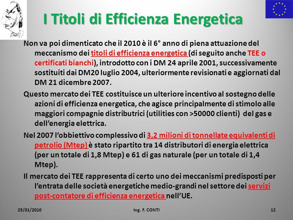 I Titoli di Efficienza Energetica Non va poi dimenticato che il 2010 è il 6° anno di piena attuazione del meccanismo dei titoli di efficienza energeti
