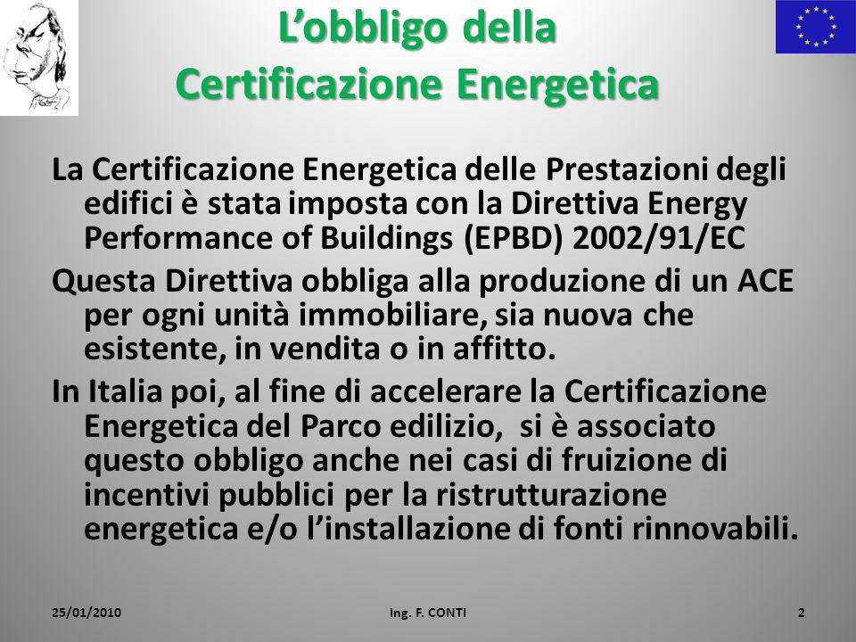 Lobbligo della Certificazione Energetica La Certificazione Energetica delle Prestazioni degli edifici è stata imposta con la Direttiva Energy Performance of Buildings (EPBD) 2002/91/EC Questa Direttiva obbliga alla produzione di un ACE per ogni unità immobiliare, sia nuova che esistente, in vendita o in affitto.