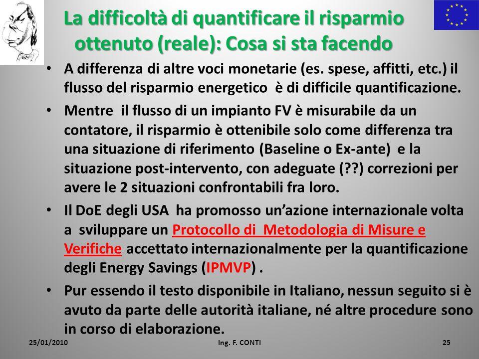 La difficoltà di quantificare il risparmio ottenuto (reale): Cosa si sta facendo A differenza di altre voci monetarie (es.