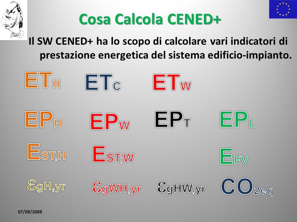 Cosa Calcola CENED+ Il SW CENED+ ha lo scopo di calcolare vari indicatori di prestazione energetica del sistema edificio-impianto. 07/09/2009