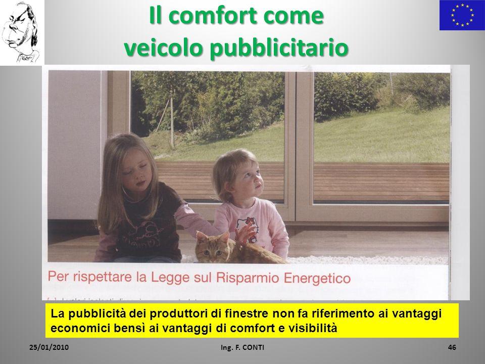 Il comfort come veicolo pubblicitario 25/01/2010Ing. F. CONTI46 La pubblicità dei produttori di finestre non fa riferimento ai vantaggi economici bens