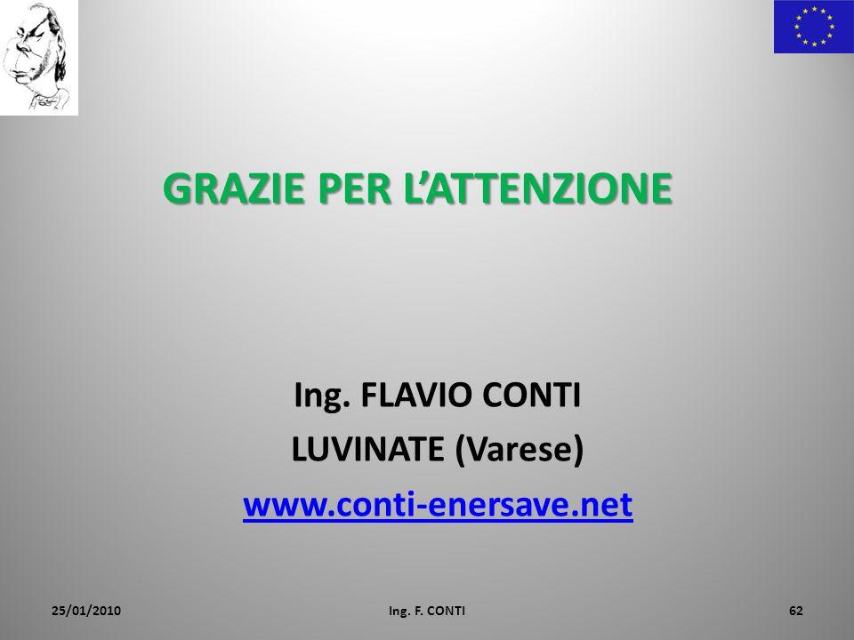 GRAZIE PER LATTENZIONE Ing. FLAVIO CONTI LUVINATE (Varese) www.conti-enersave.net 25/01/2010Ing. F. CONTI62