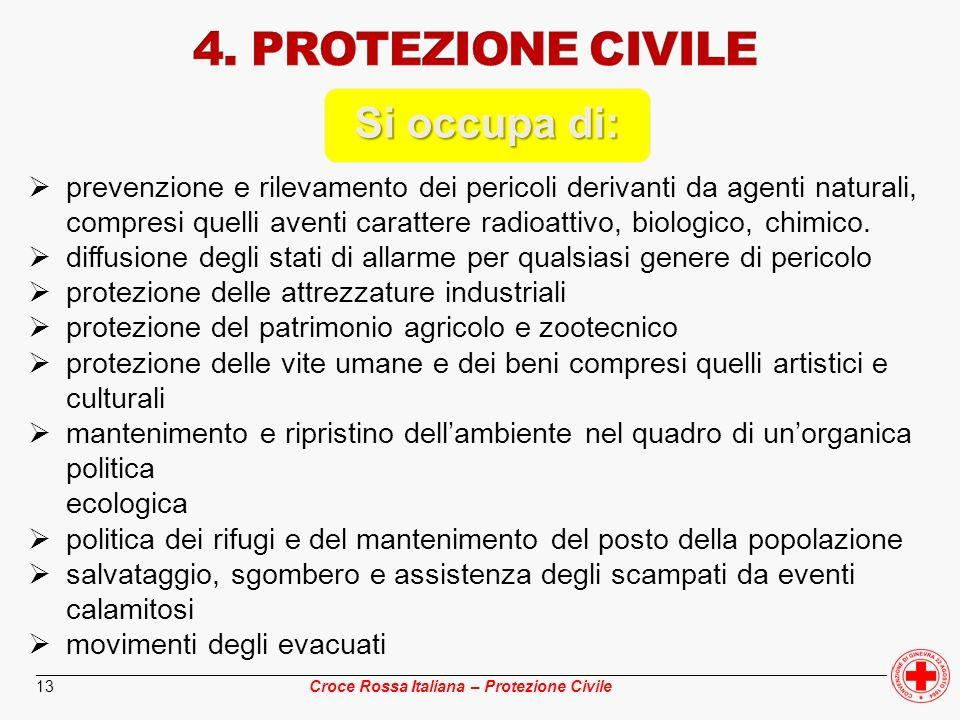 ________________________________________________________________________________________________ Croce Rossa Italiana – Protezione Civile 13 Si occupa