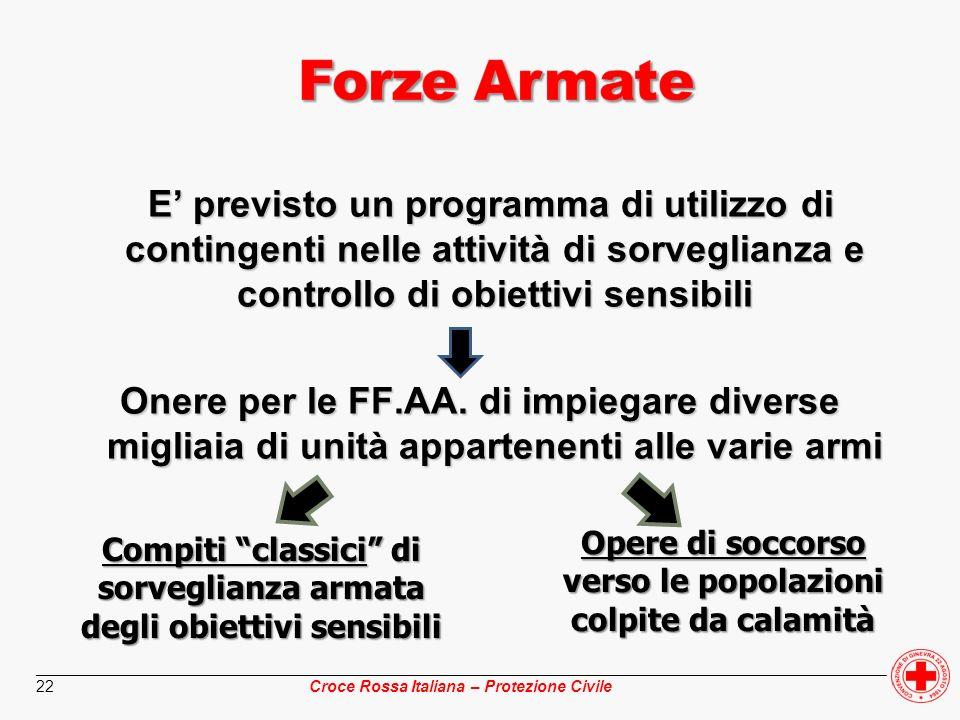 ________________________________________________________________________________________________ Croce Rossa Italiana – Protezione Civile 22 E previst