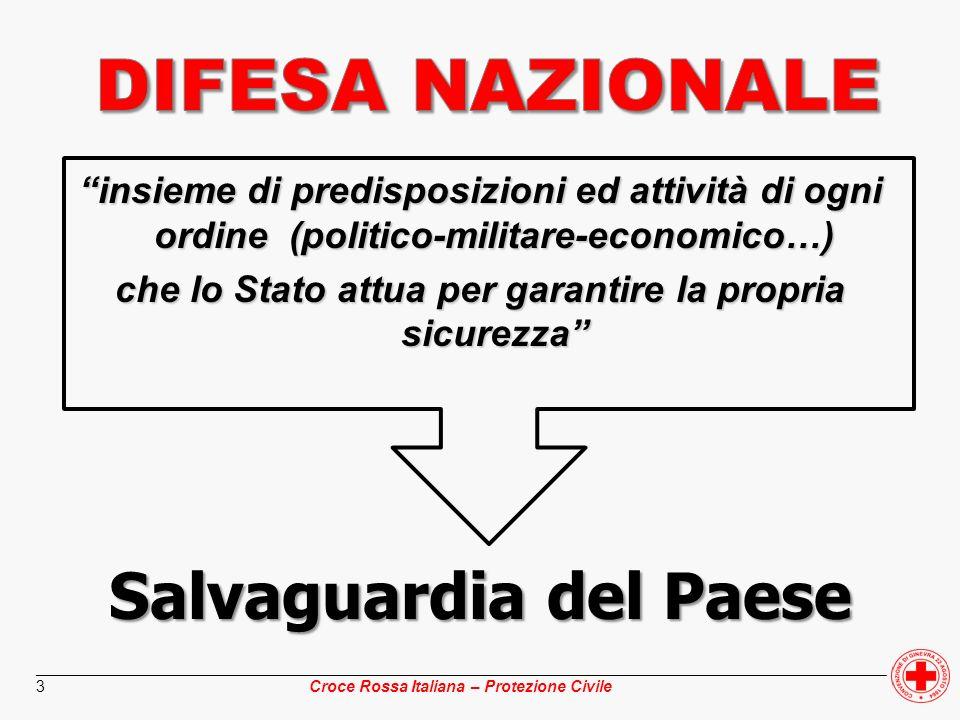 ________________________________________________________________________________________________ Croce Rossa Italiana – Protezione Civile 24 Fronteggia mediante presidi sul territorio i rischi non convenzionali derivanti da eventuali atti criminosi in danno di persone o beni, con luso di armi nucleari, batteriologiche, chimiche e radiologiche Fronteggia mediante presidi sul territorio i rischi non convenzionali derivanti da eventuali atti criminosi in danno di persone o beni, con luso di armi nucleari, batteriologiche, chimiche e radiologiche Concorre alla preparazione di unità antincendi per le FF.AA.