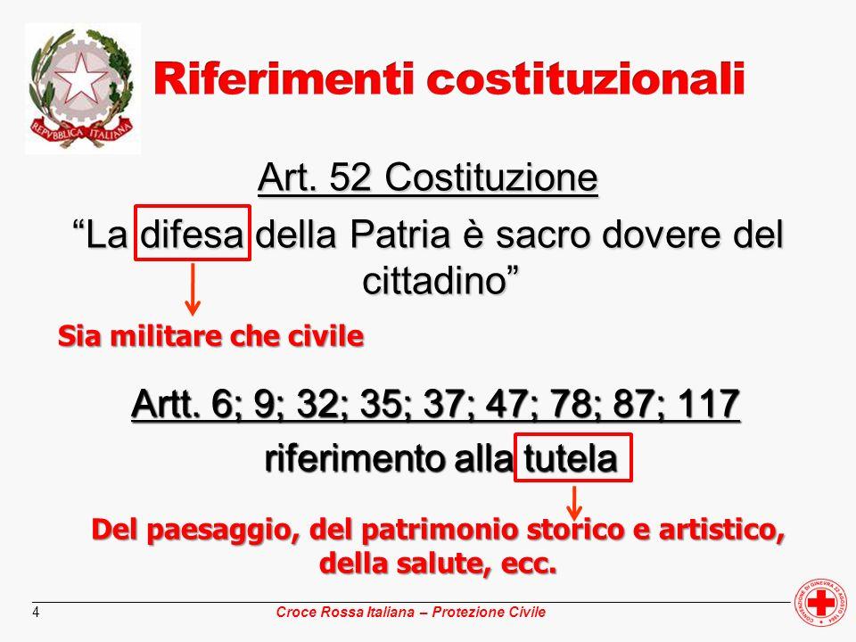 ________________________________________________________________________________________________ Croce Rossa Italiana – Protezione Civile 15 Si occupa di: istituzione di ospedali e centri di accertamento sanitario campali profilassi igienico sanitaria salvaguardia e controllo igienico sanitario degli animali, degli alimenti, delle acque e degli ambienti in genere sfollamento e trasferimento di malati già ricoverati soccorso e ricovero e la cura dei malati compresi quelli colpiti da offese di armi convenzionali o di tipo N, B, C.