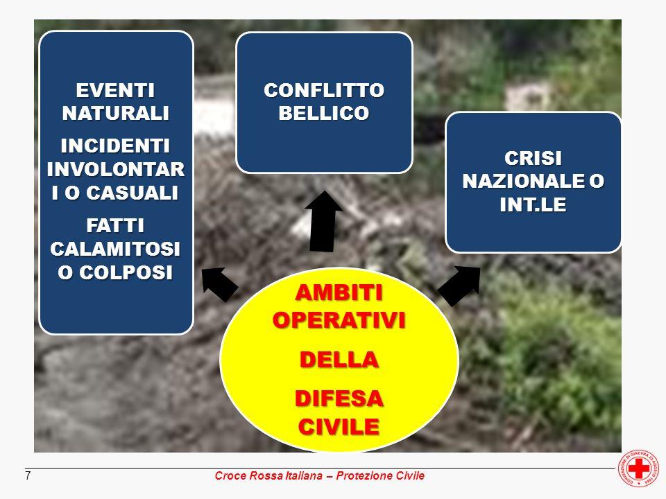 ________________________________________________________________________________________________ Croce Rossa Italiana – Protezione Civile 28 scenario definitoscenario indefinito conoscenza scientifica storica dellevento ipotizzato indeterminatezza dellevento predeterminazione delle attività di soccorso con crescente approssimazione predeterminazione delle attività di soccorso solo per linee generali organizzazione delle pianificazioni per funzioni di supporto organizzazione per piani discendenti e/o di settore procedure di intervento comuni a tutti i livelli e in tutto il territorio metodologie e finalità diverse a seconda dei livelli di pianificazione integrazione orizzontale dei settori di competenza e funzioni di coordinamento decentrate integrazione secondo linee verticali con funzioni di coordinamento accentrate pluralità di autorità di riferimentounicità di autorità di riferimento PROTEZIONE CIVILE DIFESA CIVILE