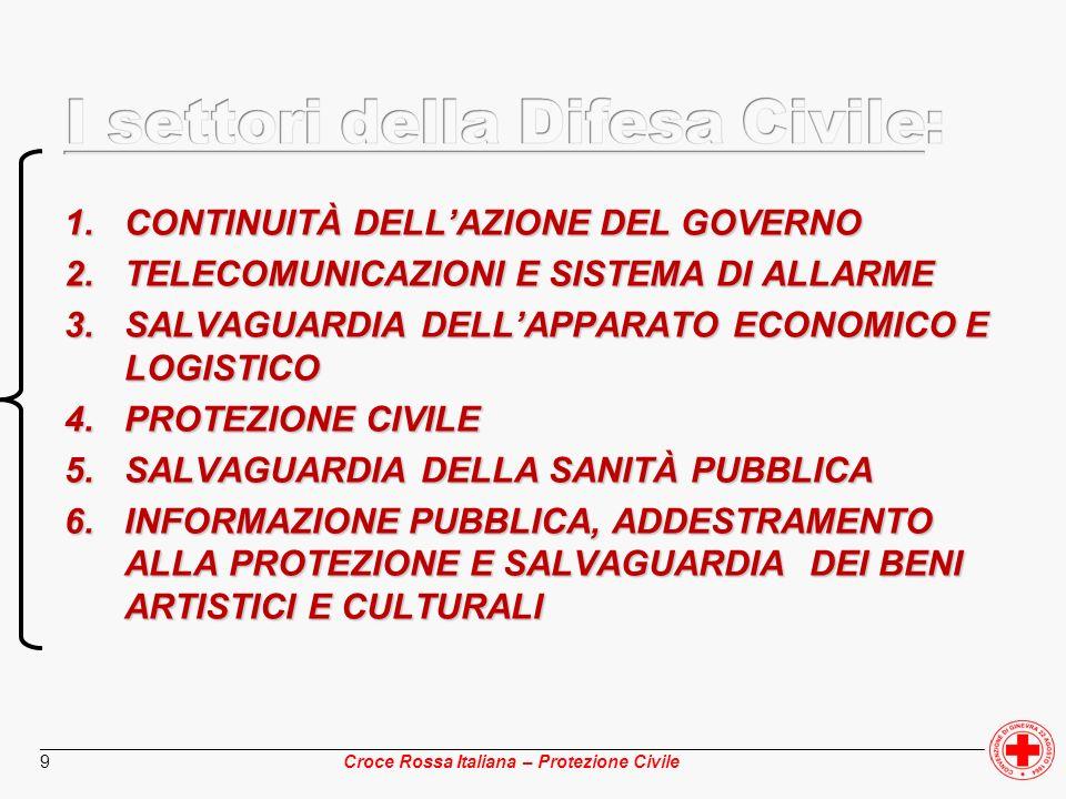 ________________________________________________________________________________________________ Croce Rossa Italiana – Protezione Civile 10 MANTENIMENTO Azione e autorità di Governo Delle funzioni ist.li Dellordine pubblico e della legalità Di un efficace servizio informazioni Di una corretta divulgazione delle notizie anche ai fini della solidità del fronte interno