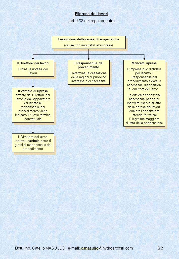 Dott.Ing. Catello MASULLO e-mail: c.masullo@hydroarchsrl.com 22 Ripresa dei lavori (art.