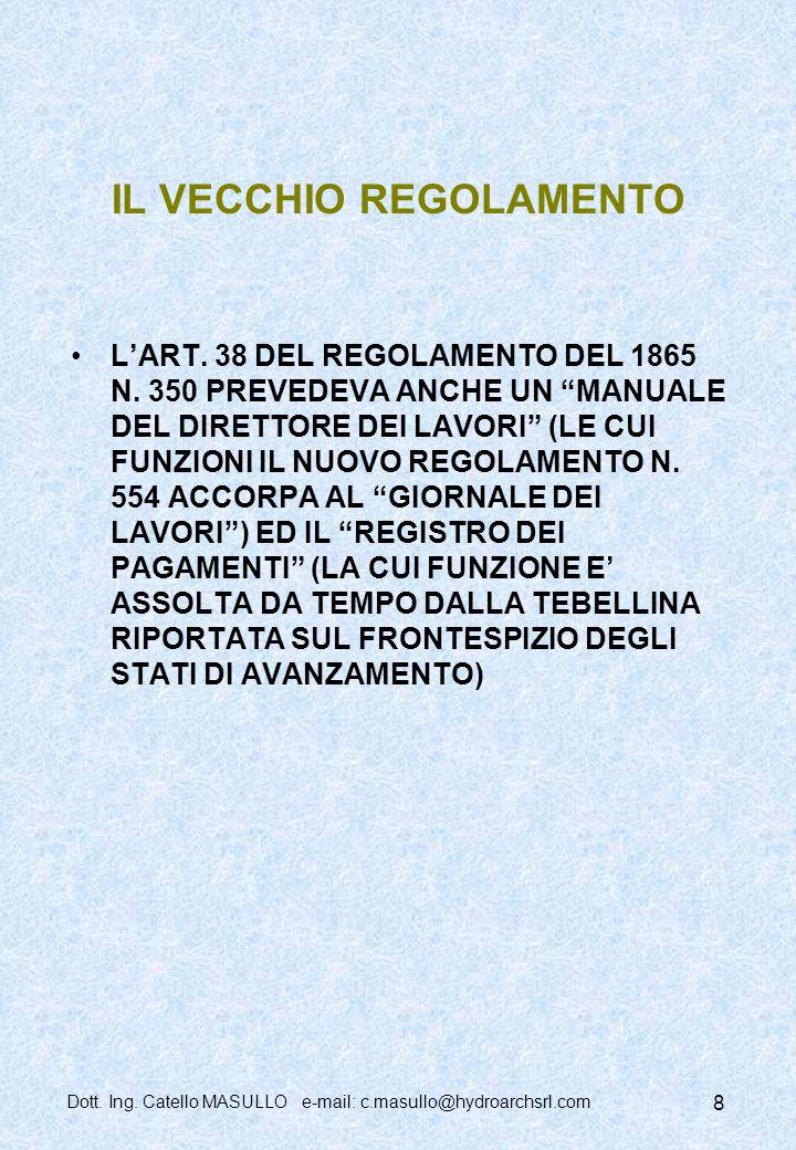 Dott.Ing. Catello MASULLO e-mail: c.masullo@hydroarchsrl.com 8 IL VECCHIO REGOLAMENTO LART.