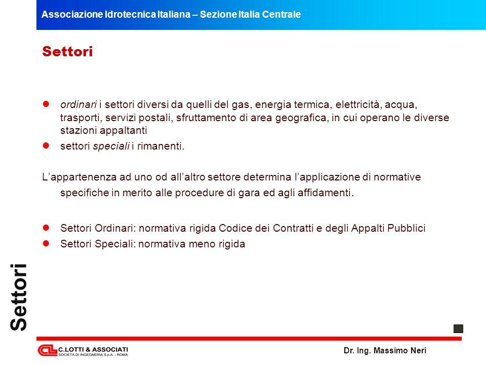 Associazione Idrotecnica Italiana – Sezione Italia Centrale Dr. Ing. Massimo Neri Settori ordinari i settori diversi da quelli del gas, energia termic