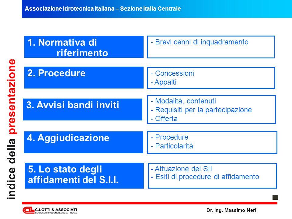 Associazione Idrotecnica Italiana – Sezione Italia Centrale Dr. Ing. Massimo Neri indice della presentazione 5. Lo stato degli affidamenti del S.I.I.