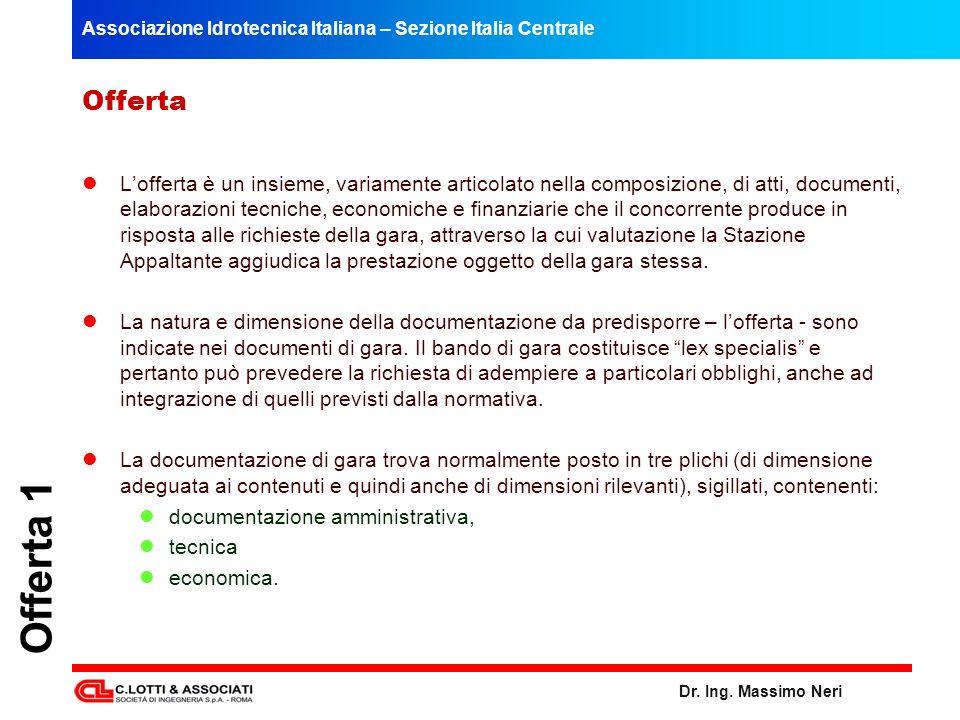 Associazione Idrotecnica Italiana – Sezione Italia Centrale Dr. Ing. Massimo Neri Offerta 1 Offerta Lofferta è un insieme, variamente articolato nella
