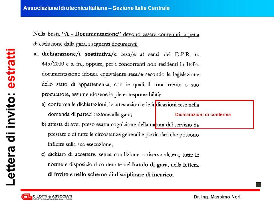Associazione Idrotecnica Italiana – Sezione Italia Centrale Dr. Ing. Massimo Neri Lettera di invito: estratti Dichiarazioni di conferma
