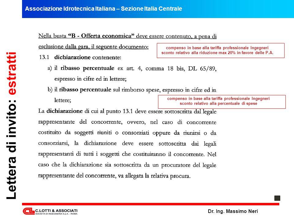 Associazione Idrotecnica Italiana – Sezione Italia Centrale Dr. Ing. Massimo Neri Lettera di invito: estratti compenso in base alla tariffa profession