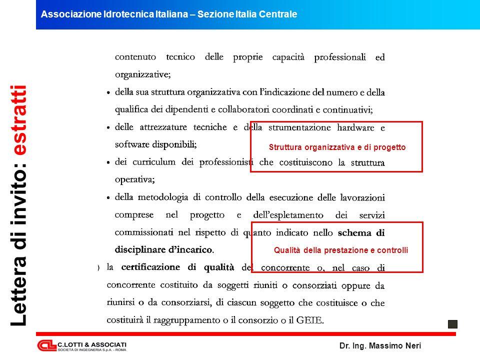 Associazione Idrotecnica Italiana – Sezione Italia Centrale Dr. Ing. Massimo Neri Lettera di invito: estratti Struttura organizzativa e di progetto Qu