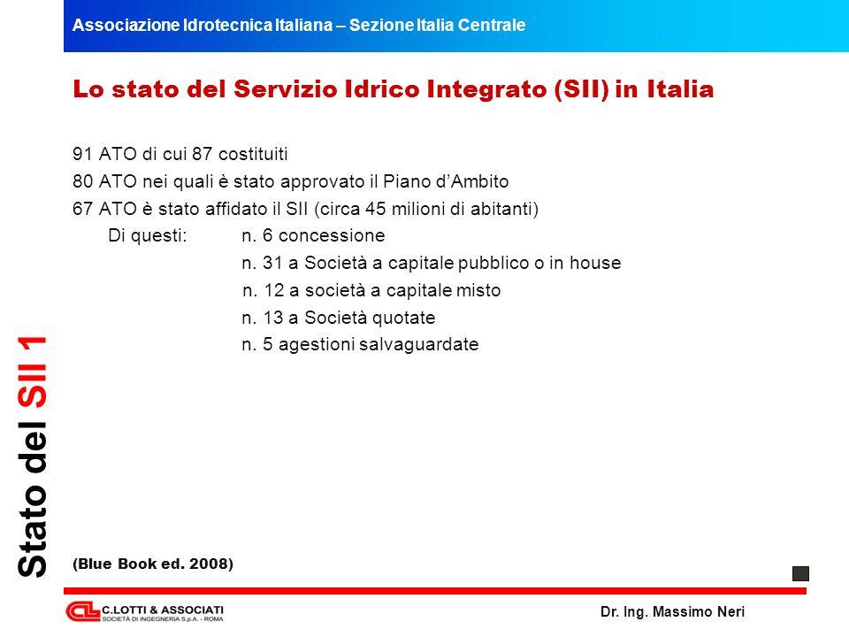 Associazione Idrotecnica Italiana – Sezione Italia Centrale Dr. Ing. Massimo Neri Stato del SII 1 Lo stato del Servizio Idrico Integrato (SII) in Ital