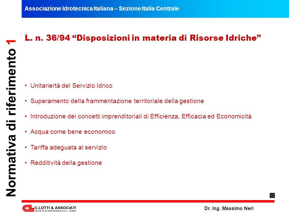 Associazione Idrotecnica Italiana – Sezione Italia Centrale Dr. Ing. Massimo Neri Normativa di riferimento 1 L. n. 36/94 Disposizioni in materia di Ri