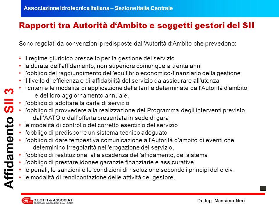 Associazione Idrotecnica Italiana – Sezione Italia Centrale Dr. Ing. Massimo Neri Rapporti tra Autorità dAmbito e soggetti gestori del SII Sono regola