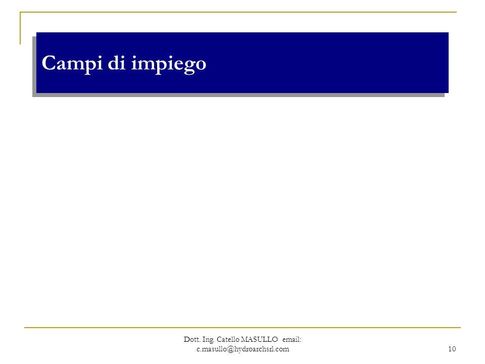 Dott. Ing. Catello MASULLO email: c.masullo@hydroarchsrl.com 10 Campi di impiego