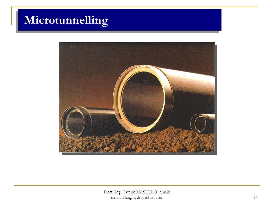 Dott. Ing. Catello MASULLO email: c.masullo@hydroarchsrl.com 14 Microtunnelling