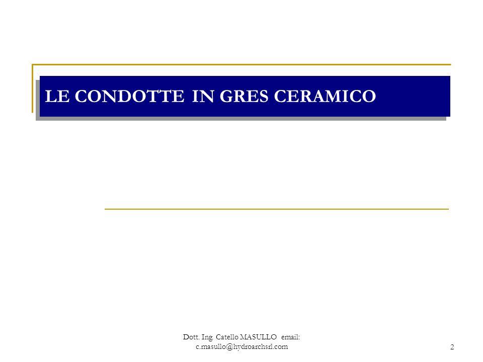 Dott. Ing. Catello MASULLO email: c.masullo@hydroarchsrl.com2 LE CONDOTTE IN GRES CERAMICO