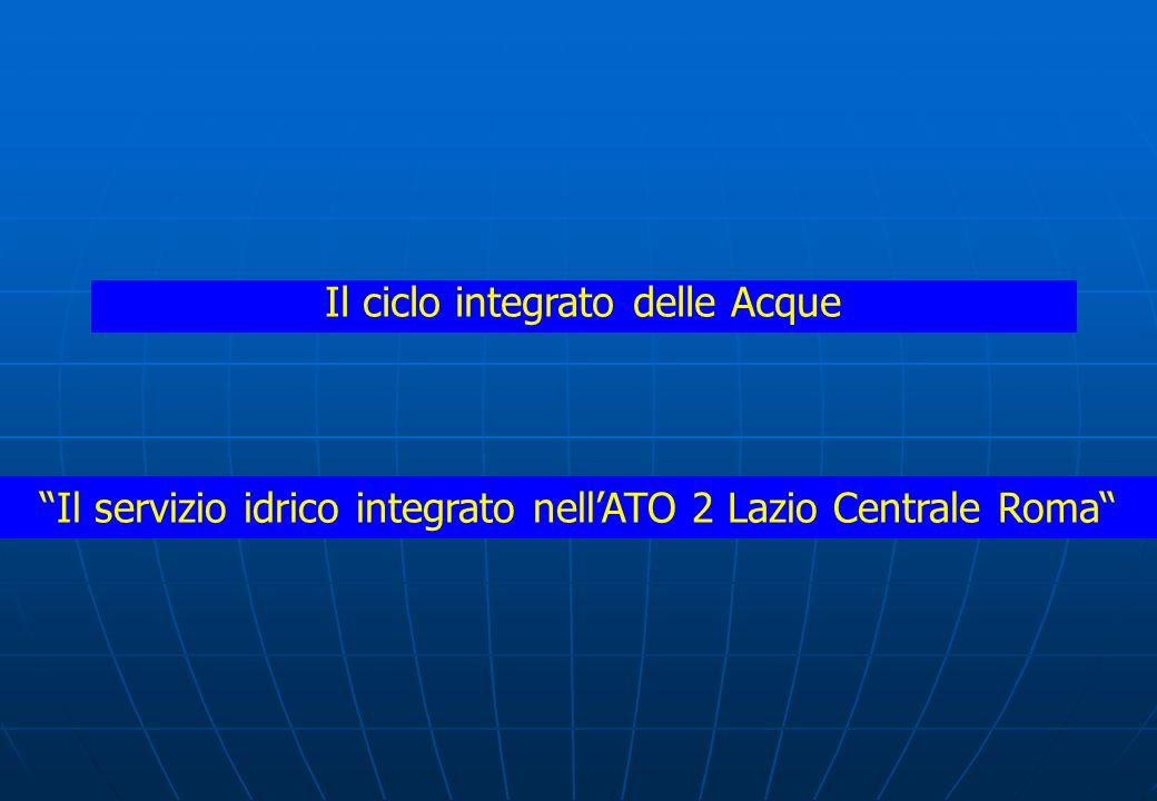 Il ciclo integrato delle Acque Il servizio idrico integrato nellATO 2 Lazio Centrale Roma