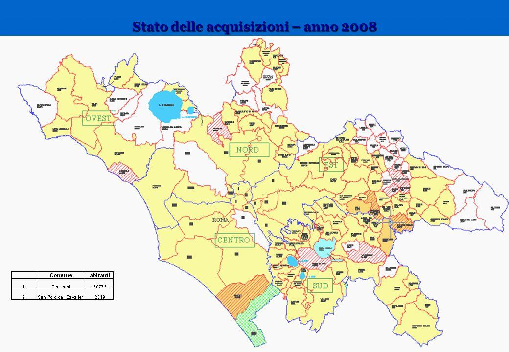 Stato delle acquisizioni – anno 2008
