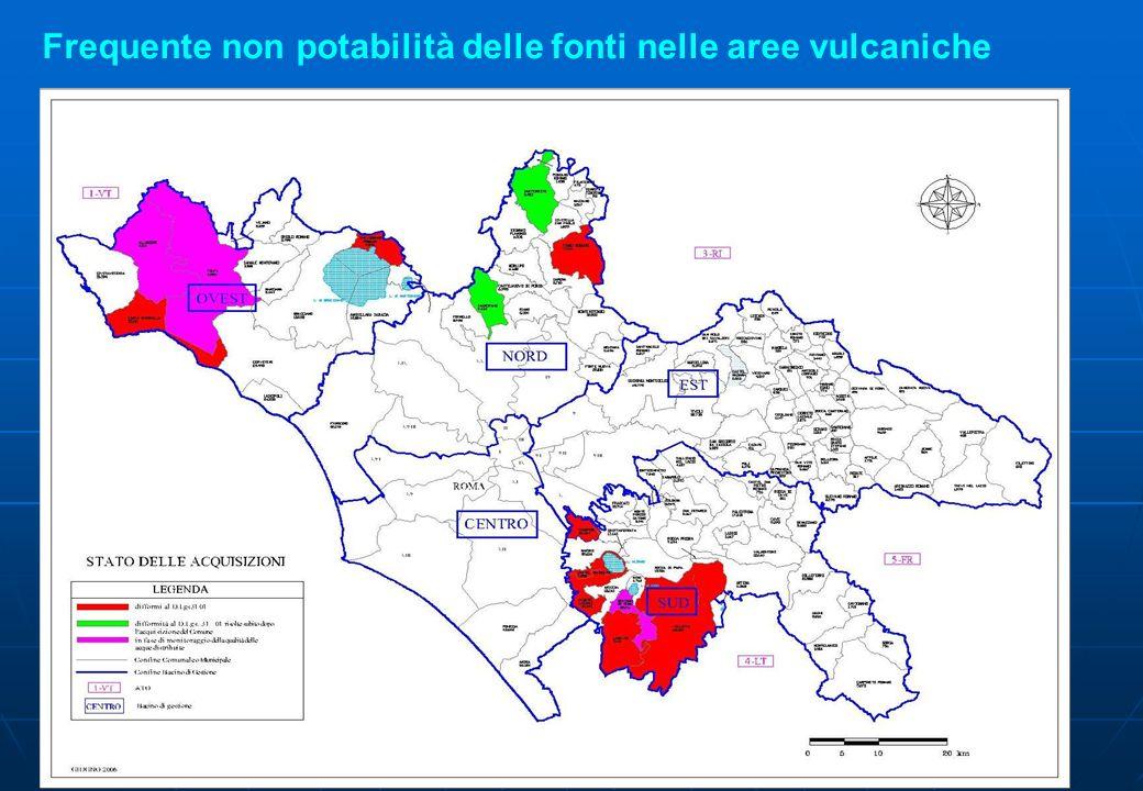 Frequente non potabilità delle fonti nelle aree vulcaniche