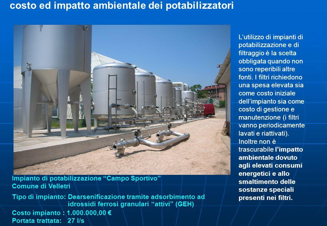 costo ed impatto ambientale dei potabilizzatori Lutilizzo di impianti di potabilizzazione e di filtraggio è la scelta obbligata quando non sono reperi