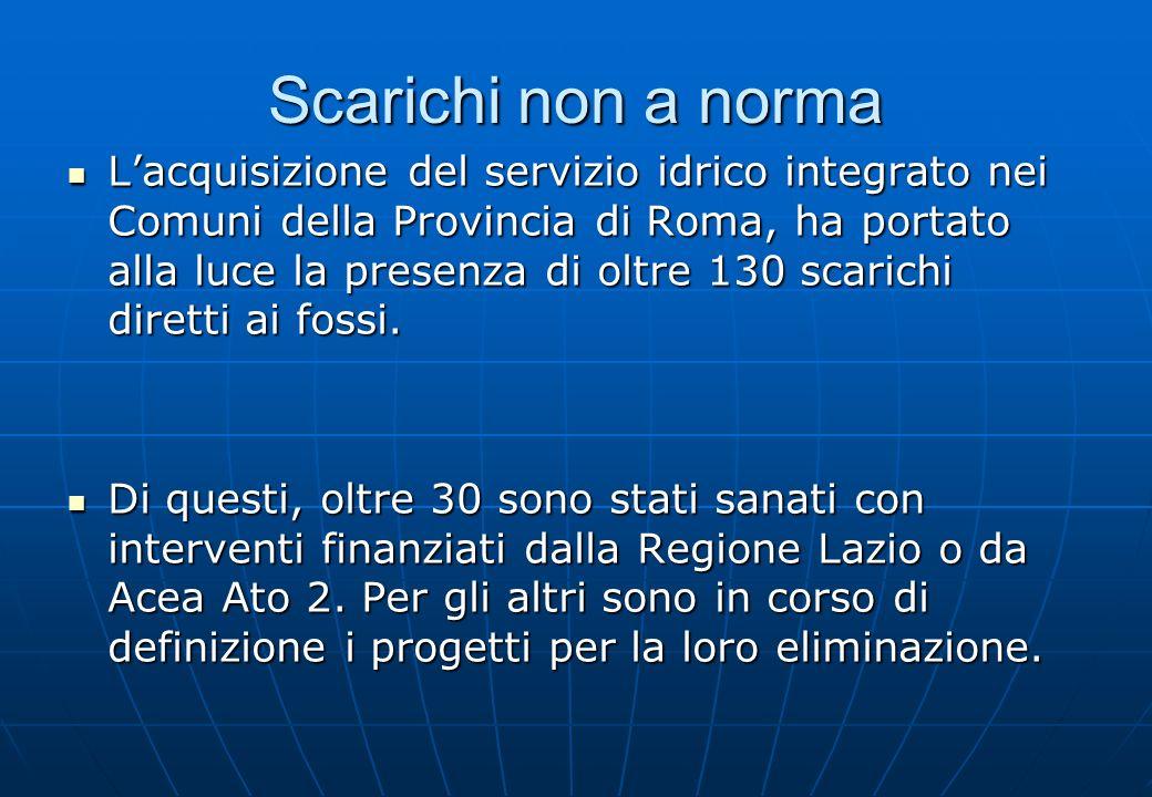 Scarichi non a norma Lacquisizione del servizio idrico integrato nei Comuni della Provincia di Roma, ha portato alla luce la presenza di oltre 130 sca