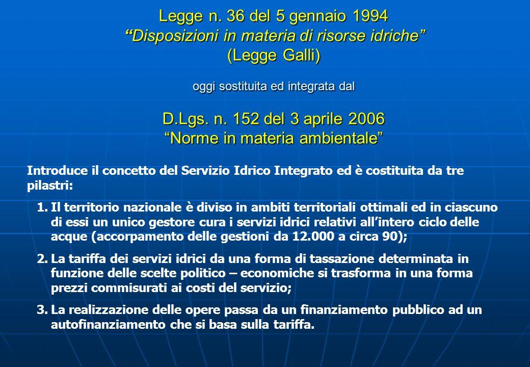 Legge n. 36 del 5 gennaio 1994Disposizioni in materia di risorse idriche (Legge Galli) oggi sostituita ed integrata dal D.Lgs. n. 152 del 3 aprile 200