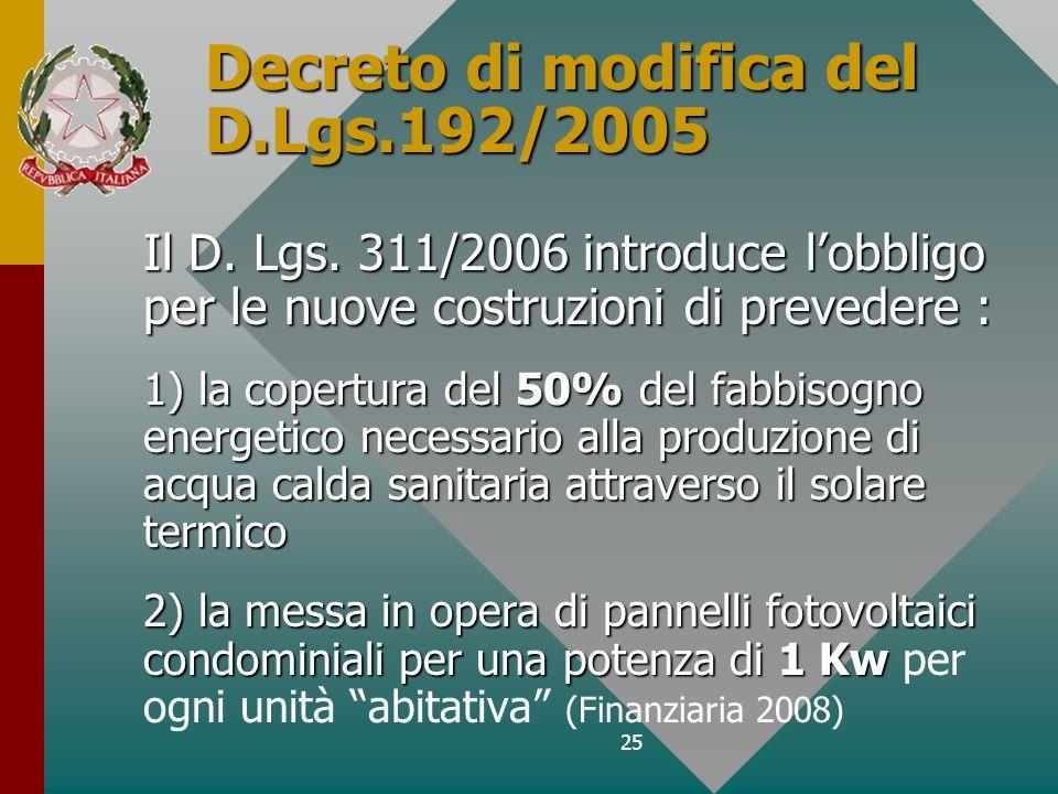 25 Decreto di modifica del D.Lgs.192/2005 Il D. Lgs. 311/2006 introduce lobbligo per le nuove costruzioni di prevedere : 1) la copertura del 50% del f