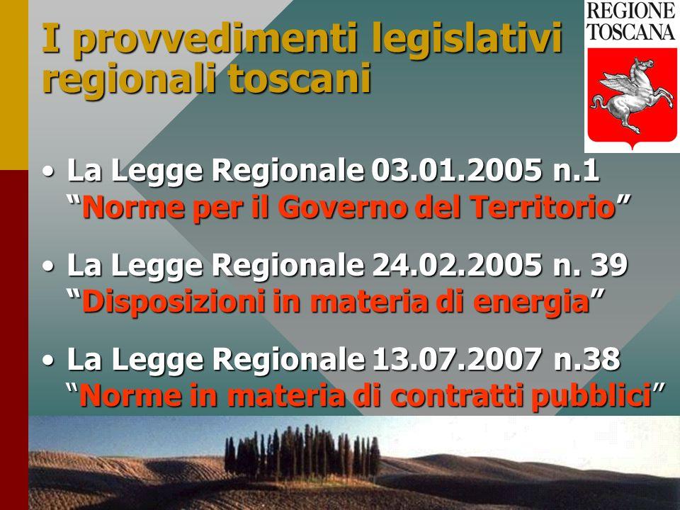 29 I provvedimenti legislativi regionali toscani La Legge Regionale 03.01.2005 n.1Norme per il Governo del TerritorioLa Legge Regionale 03.01.2005 n.1