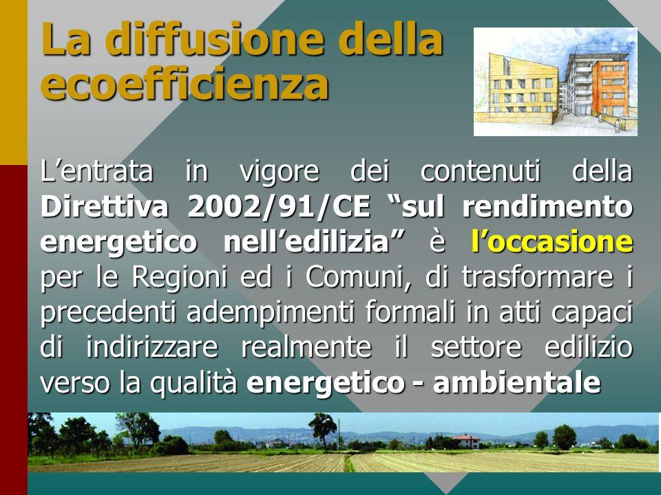 34 La diffusione della ecoefficienza Lentrata in vigore dei contenuti della Direttiva 2002/91/CE sul rendimento energetico nelledilizia è loccasione p