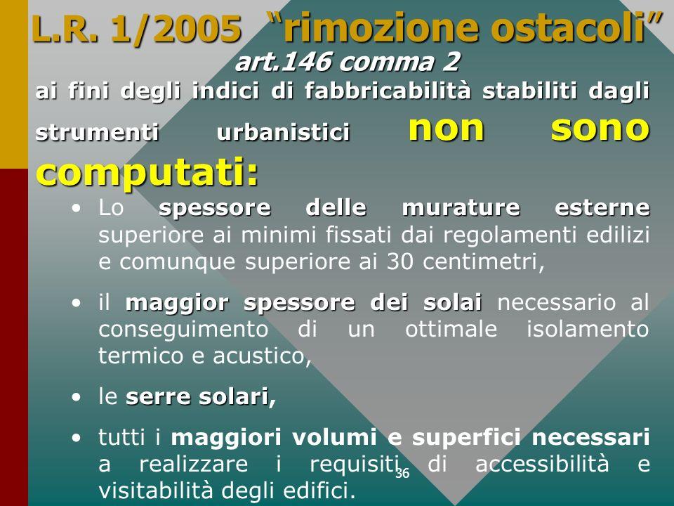36 L.R. 1/2005 rimozione ostacoli art.146 comma 2 ai fini degli indici di fabbricabilità stabiliti dagli strumenti urbanistici non sono computati: spe