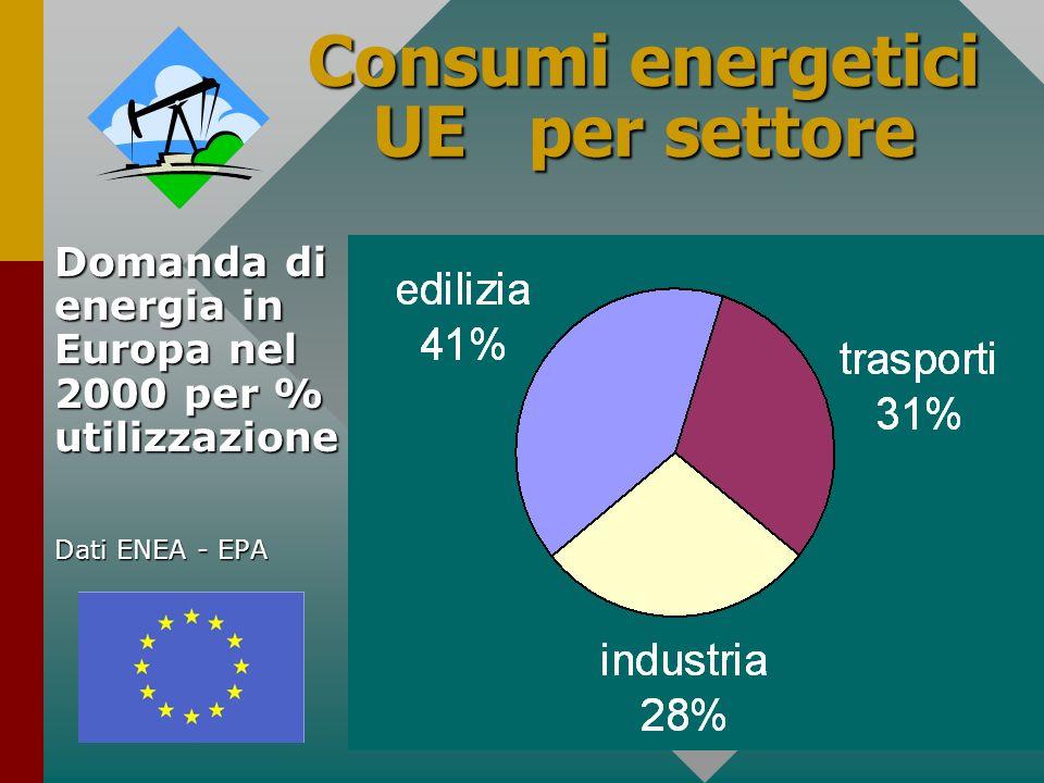 4 Consumi energetici UE per settore Domanda di energia in Europa nel 2000 per % utilizzazione Dati ENEA - EPA