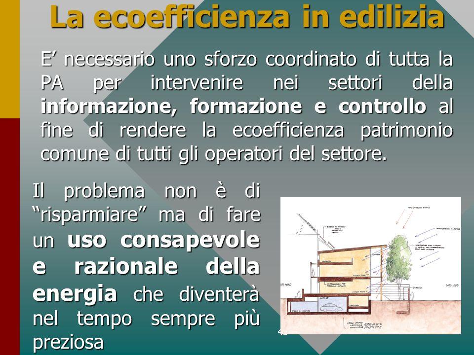 45 La ecoefficienza in edilizia E necessario uno sforzo coordinato di tutta la PA per intervenire nei settori della informazione, formazione e control