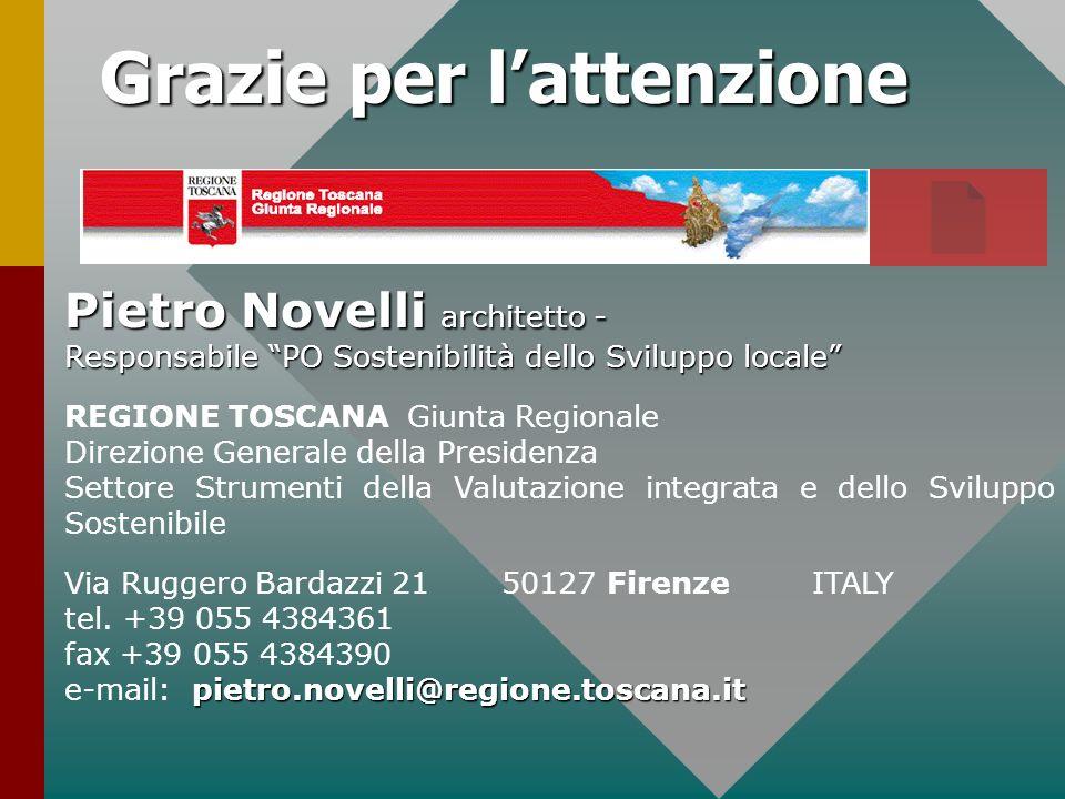 Pietro Novelli architetto - Responsabile PO Sostenibilità dello Sviluppo locale REGIONE TOSCANA Giunta Regionale Direzione Generale della Presidenza S