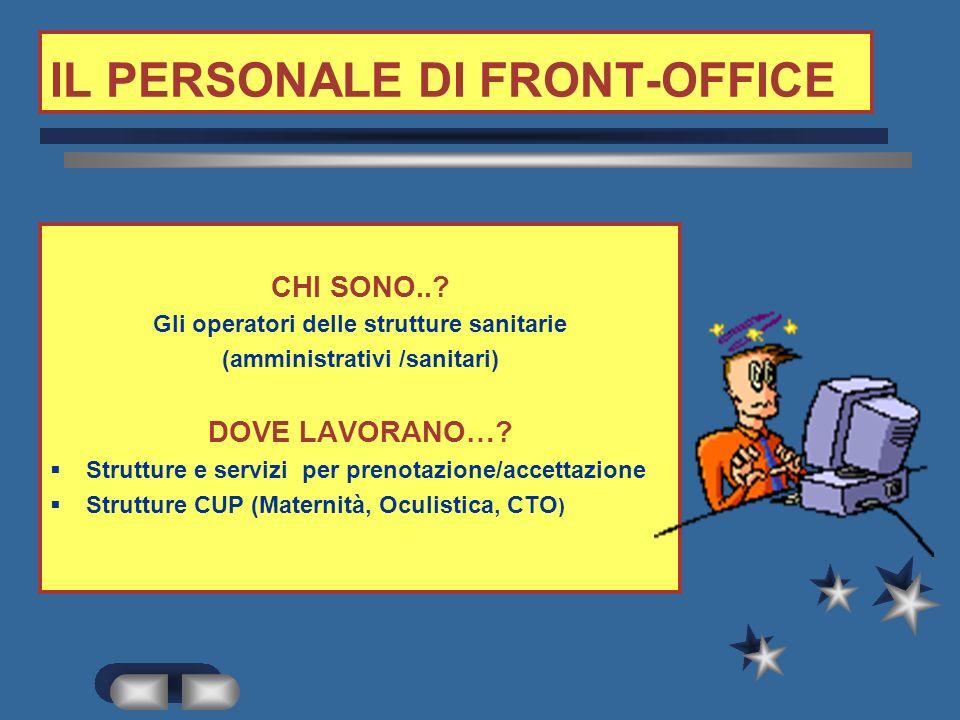 IL PERSONALE DI FRONT-OFFICE CHI SONO...