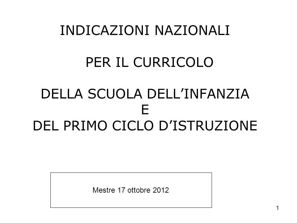 1 INDICAZIONI NAZIONALI PER IL CURRICOLO DELLA SCUOLA DELLINFANZIA E DEL PRIMO CICLO DISTRUZIONE Mestre 17 ottobre 2012