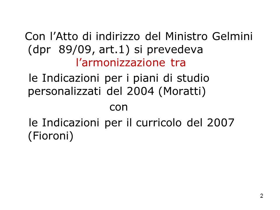 2 Con lAtto di indirizzo del Ministro Gelmini (dpr 89/09, art.1) si prevedeva larmonizzazione tra le Indicazioni per i piani di studio personalizzati