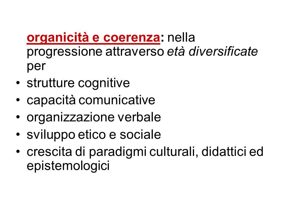 organicità e coerenza: nella progressione attraverso età diversificate per strutture cognitive capacità comunicative organizzazione verbale sviluppo e