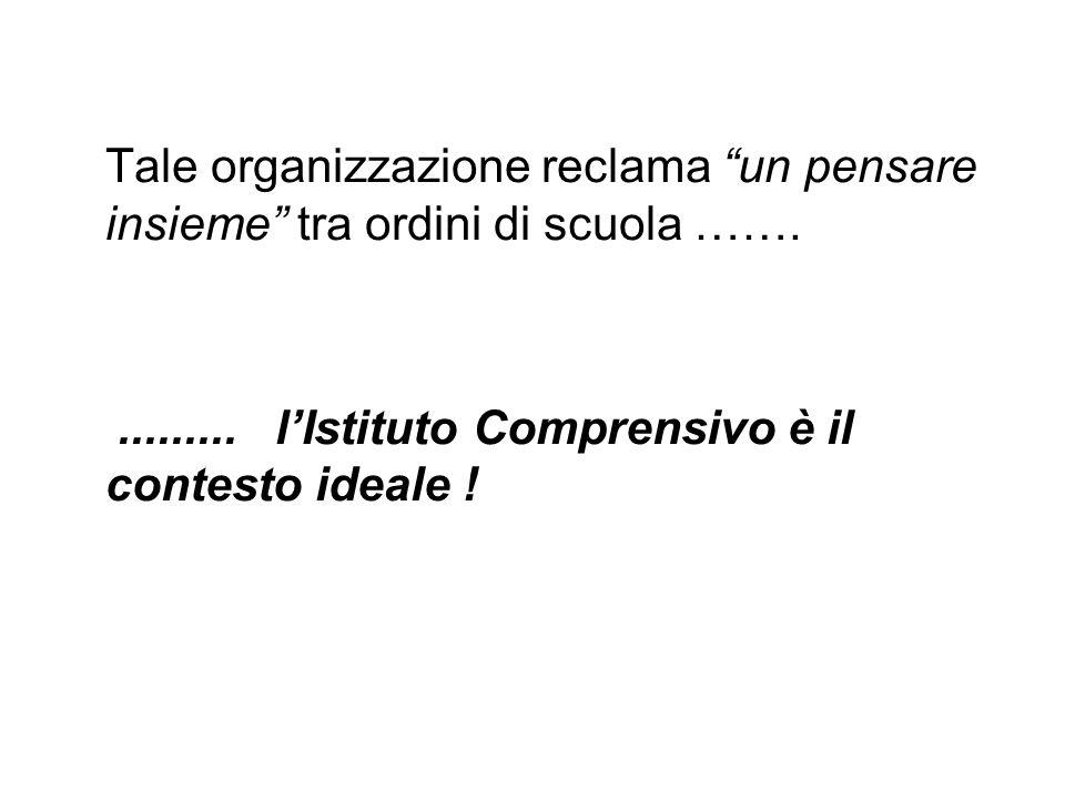 Tale organizzazione reclama un pensare insieme tra ordini di scuola …….......... lIstituto Comprensivo è il contesto ideale !
