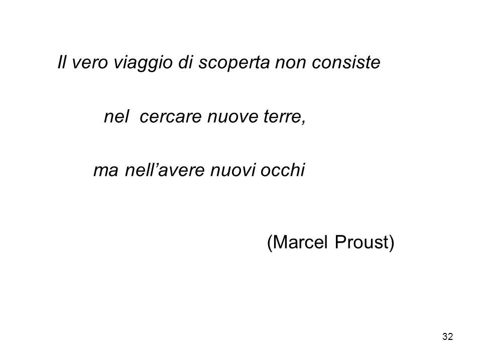 32 Il vero viaggio di scoperta non consiste nel cercare nuove terre, ma nellavere nuovi occhi (Marcel Proust)